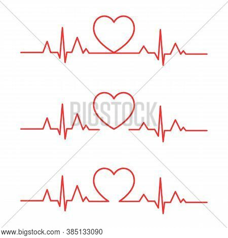 Set Of Heart Beat Pulse Line Vector Icon. Heartbeat Heart Shape Centered Line. Heart Beat.