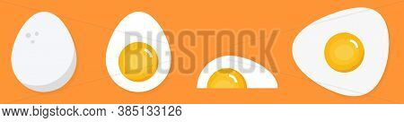 Vector Illustration Of Chicken Eggs In Flat Style. Food Icon Set Of Chicken Egg.