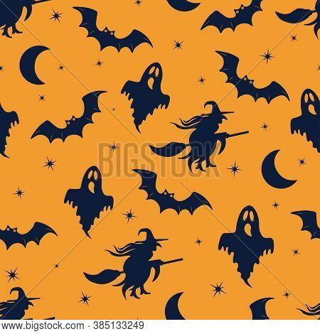 Seamless Vector Pattern For Halloween. Halloween Ghost, Bat And Witch. Cute Cartoon Halloween Patter