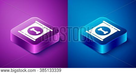Isometric Canned Food Icon Isolated On Blue And Purple Background. Food For Animals. Pet Food Can. D