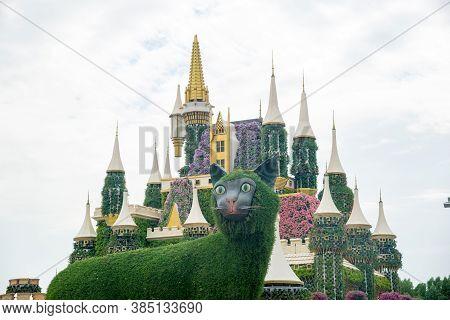 Dubai, Uae - November 20: Miracle Gardens, Fairy Tale Castle Made Of Flowers. United Arab Emirates