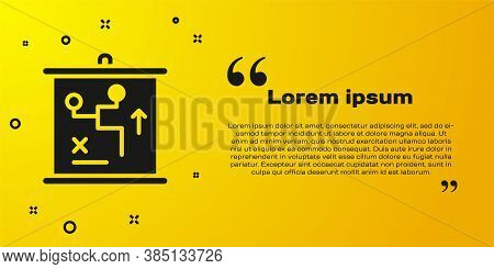 Black Planning Strategy Concept Icon Isolated On Yellow Background. Cup Formation And Tactic. Vector