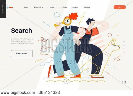 Business Topics -search, Web Template, Header. Flat Style Modern Outlined Vector Concept Illustratio