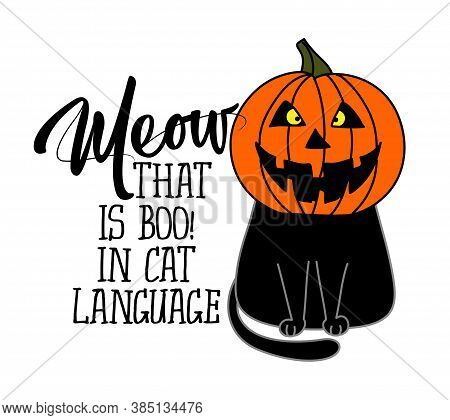 Meow, that is boo in cat language - funny quote design with cute black cat in pumpkin costume helmet. Adorable cat poster with lettering, good for t shirts, gifts, mugs or other pritable designs.