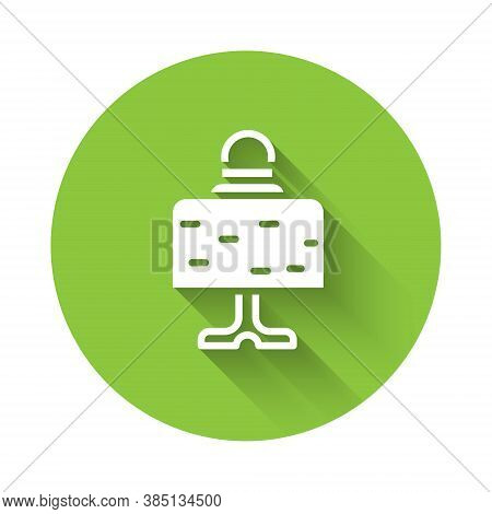 White Magic Ball On Table Icon Isolated With Long Shadow. Crystal Ball. Green Circle Button. Vector