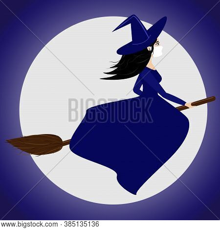Illustration Of A Witch On A Broom In A Mask Against The Moon