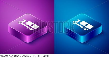 Isometric Tanker Truck Icon Isolated On Blue And Purple Background. Petroleum Tanker, Petrol Truck,