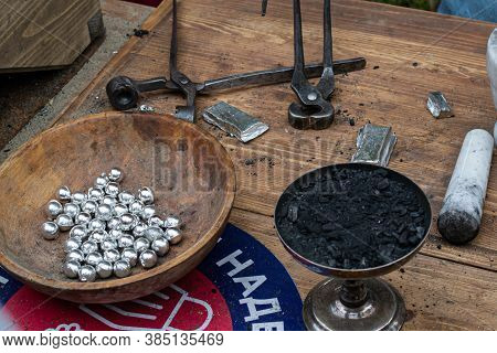Moscow, Russia - September 5, 2020. Casting Of Lead Bullets According To The Technology Of The 17th