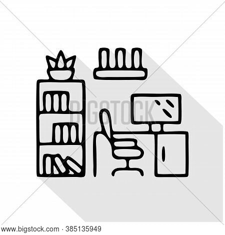 Home Office, Study Room Flat Line Icon. Apartment Furniture Sign, Vector Illustration Of Cabinet Tab