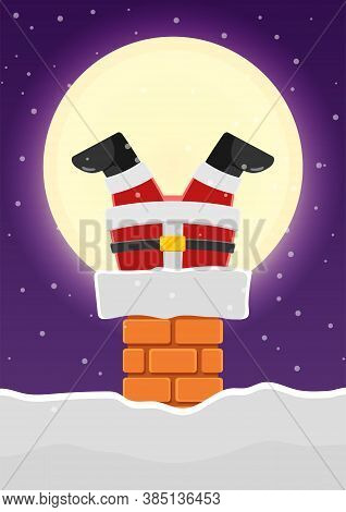 Santa Claus Stuck In The Chimney On The Snowy Roof. Merry Christmas Greeting Card Background.
