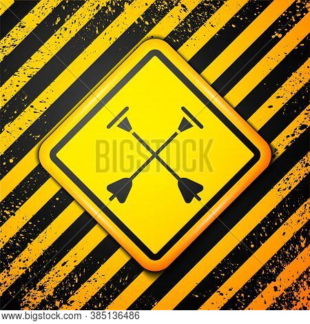Black Arrow With Sucker Tip Icon Isolated On Yellow Background. Warning Sign. Vector