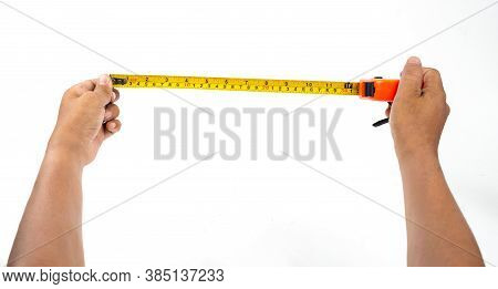 Hands With The Measuring Tape On White Background