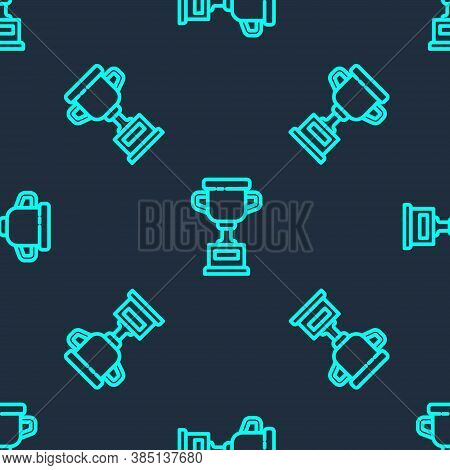 Green Line Award Cup Icon Isolated Seamless Pattern On Blue Background. Winner Trophy Symbol. Champi