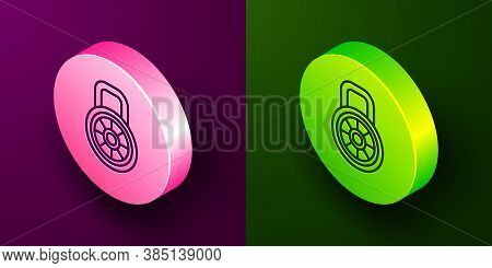 Isometric Line Safe Combination Lock Icon Isolated On Purple And Green Background. Combination Padlo