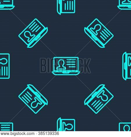 Green Line Laptop With Resume Icon Isolated Seamless Pattern On Blue Background. Cv Application. Sea