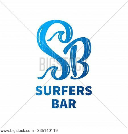 Surfers Bar Vector Logo For Business Card, Ad, Menu. Logotype Template For Beach Place Or Surf Shack