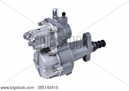 Pneumatic Hydraulic Clutch Booster Of A Truck, Auto Parts, Auto Parts For A Truck Close-up