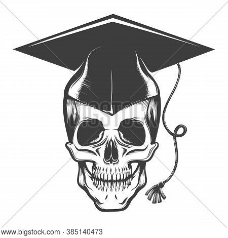 Human Skull In Bachelor Graduation Cap Tatto Drawn In Engraving Style. Vector Illustration
