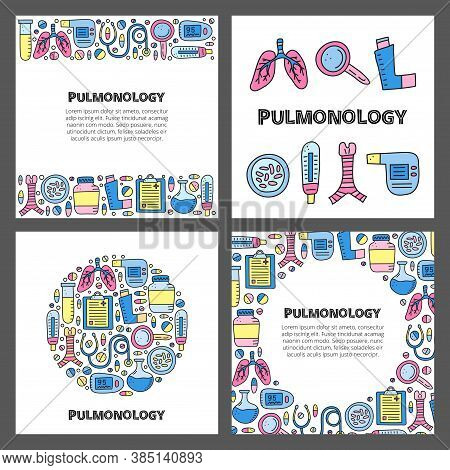 Set Of Cards With Lettering And Doodle Colored Pulmonology Items, Including Lungs, Trachea, Spiromet