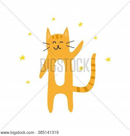 Cute Doodle Yellow Or Ginger Welcoming And Winking Cat With Stars Around Isolated On White Backgroun
