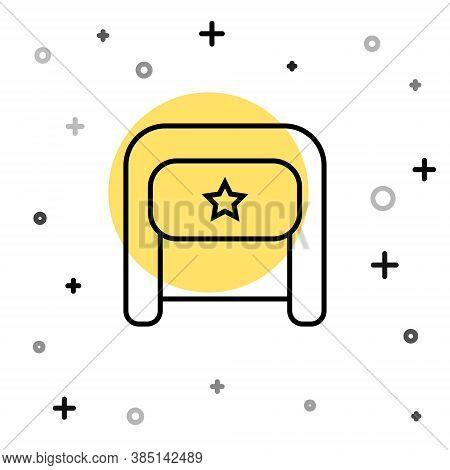 Black Line Ushanka Icon Isolated On White Background. Russian Fur Winter Hat Ushanka With Star. Sovi