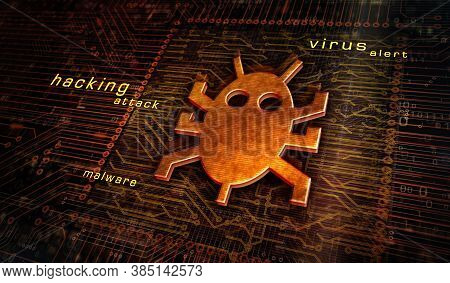 Computer Virus Attack, Cyber Security, Malware, Crime, Spying Software Technology With Digital Worm
