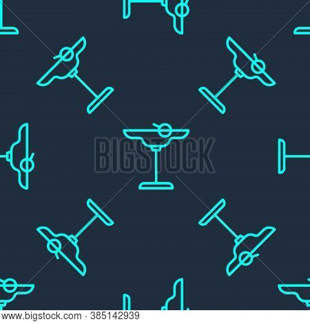 Green Line Margarita Cocktail Glass With Lime Icon Isolated Seamless Pattern On Blue Background. Vec