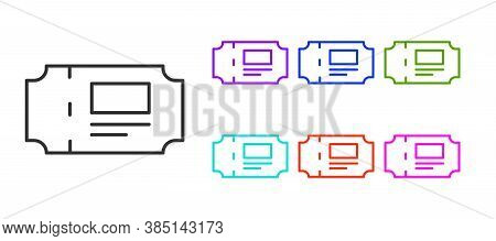 Black Line Museum Ticket Icon Isolated On White Background. History Museum Ticket Coupon Event Admit