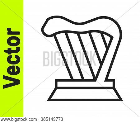 Black Line Harp Icon Isolated On White Background. Classical Music Instrument, Orhestra String Acous
