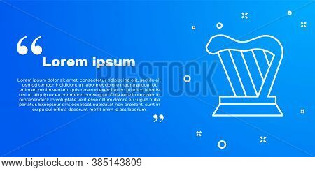 White Line Harp Icon Isolated On Blue Background. Classical Music Instrument, Orhestra String Acoust
