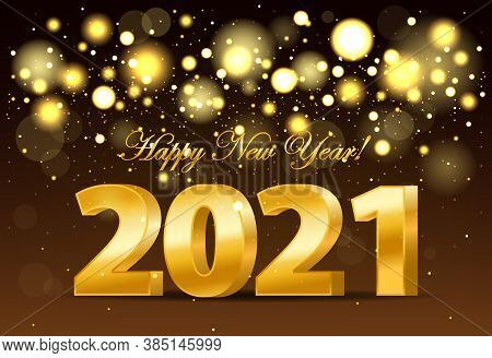 Happy New Year 2021 Banner With Golden Luxury Lights. Realistic 2021 Golden Numbers. New Year Orname