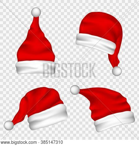 Christmas Santa Claus Hats With Fur Set. Vector Santa Claus Hat Colllection, Holiday Cap To Xmas Ill