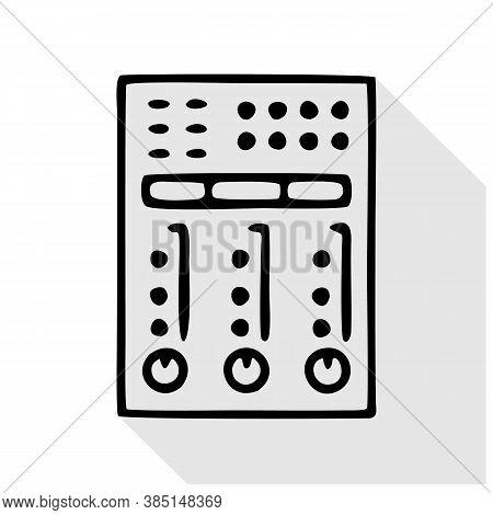 Audio Console Flat Line Icon. Sound Board, Audio Equipment Rental Sign. Thin Linear Logo For Radio,