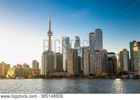 Panoramic view of skyline on sunset time at Toronto City , Toronto, Ontario, Canada.