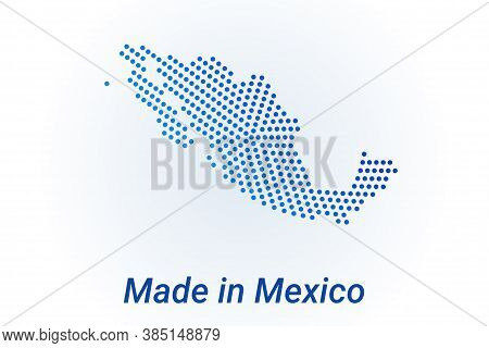 Map Icon Of Mexico. Vector Logo Illustration With Text Made In Mexico. Blue Halftone Dots Background