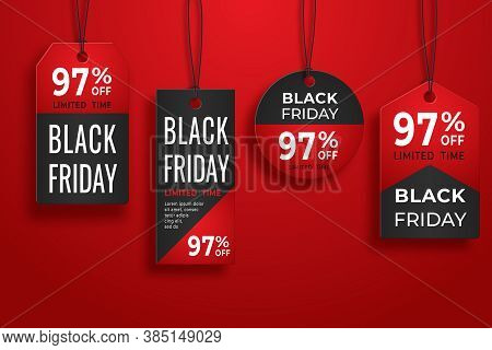 Black Friday Realistic Paper Price Tag. Sale Price Tag Labels