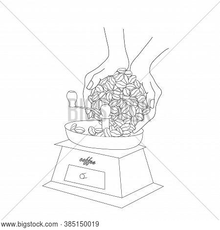 Hands Pour Coffee Beans Into A Hand-held Coffee Grinder Sketch. Art Design Stock Vector Illustration