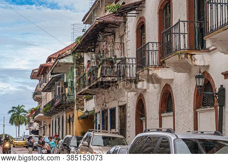Panama City, Panama - November 30, 2008: Street With Historic Houses Withbalconies Leading To The Ba