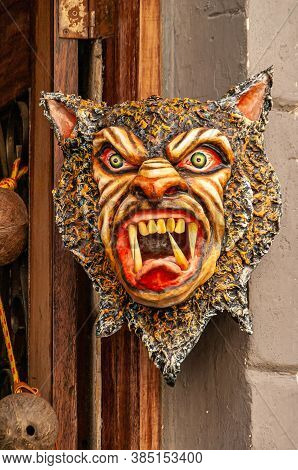 Panama City, Panama - November 30, 2008: Scary, Colorful Mask With Animal And People Characteristics