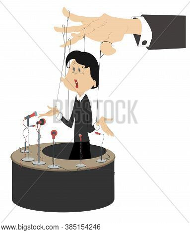 A Young Woman Speaker Making A Report And Controlled Like Puppet Illustration. Making A Report Woman