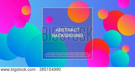 Trendy Abstract Business Card With Gradients Of Balls Shapes On Background.  Trendy Minimal Design.