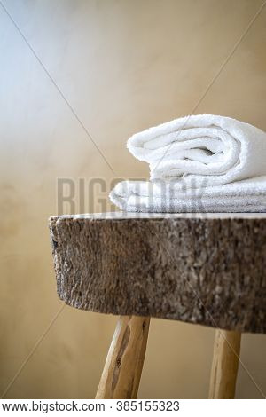 Spa Massage Wellness , Luxury Hotel, Guest House, Hostel Towell On Wooden Table. Confortable Relax F