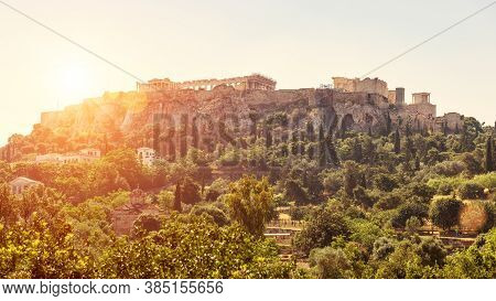 Acropolis At Sunset, Athens, Greece. Urban Landscape Of Athens, Scenic Sunny View From Old Agora. Sc