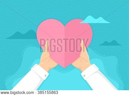 Hands Holding Paper Love Heart. Charity And Volunteer Help. Donate Campaign Or Giving Love Backgroun