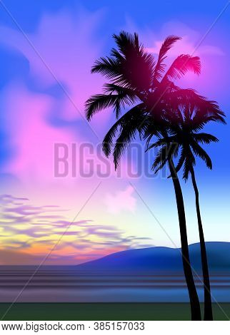 Summer Tropical Beach Background With Palms, Sky Sunrise And Sunset. Summer Party Placard Poster Fly
