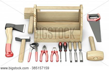 Wooden Box For Your Toolbox. Next To Which Is An Ax, A Chisel, A Chisel, Pliers, A Mallet, A Hammer,