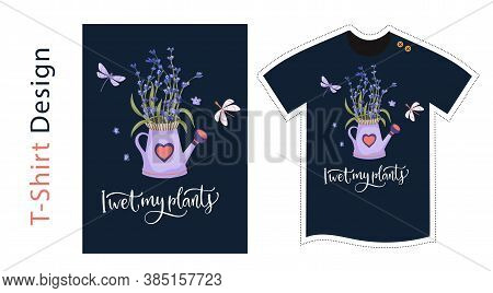 Vector T Shirt Design Vector Template For Kids And Adults. Cute Lavender Detailed Illustration. Text