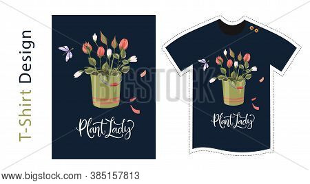 Vector T Shirt Design Vector Template For Kids And Adults. Cute Rose Detailed Illustration. Textile