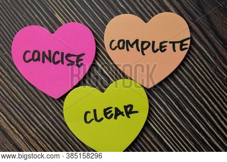 Concise Complete Clear Write On Sticky Notes Isolated On Office Desk.
