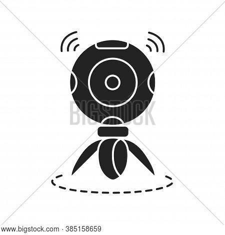 360 Degree Panoramic Video Camera On Tripod Black Glyph Icon. Innovative Digital Device. Pictogram F